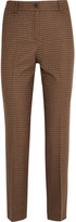 Michael Kors Cropped Checked Wool-blend Tweed Straight-leg Pants - Tan