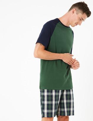 Marks and Spencer Big & Tall Pure Cotton Checked Pyjama Set