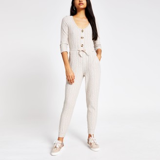 River Island Womens Cream long sleeve ribbed pyjama jumpsuit