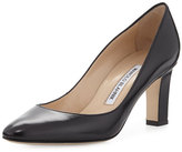 Manolo Blahnik Lisaqua Leather Almond-Toe Pump