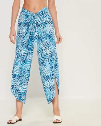 Blue Island Leaf Print Swim Cover-Up Pants