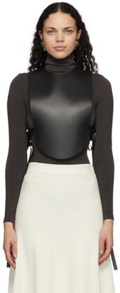 Loewe Black Leather Plastron Blouse
