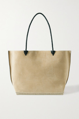 Altuzarra Espadrille Large Leather And Jute-trimmed Suede Tote - Beige