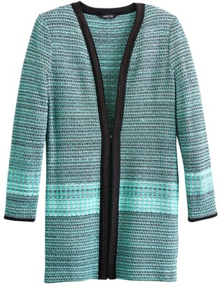 Misook Sparkle Trim Tweed Duster