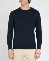 M.STUDIO Malory navy cotton sweater with buttoned shoulder