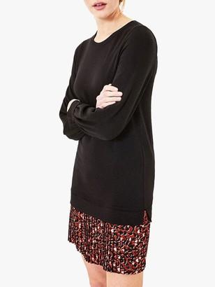 Oasis Sweatshirt Dress, Black/Multi