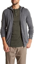 Autumn Cashmere Leather Contrast Zip-Up Hoodie