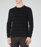 REISS Dale - Mens Textured Crew-neck Jumper in Blue