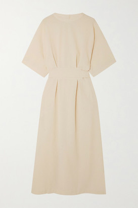 LVIR Reversible Belted Cloque Midi Dress - Beige
