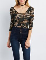 Charlotte Russe Camo Scoop Neck Bodysuit