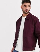 Asos Design DESIGN harrington jacket with storm vent in burgundy