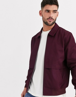ASOS DESIGN harrington jacket with storm vent in burgundy