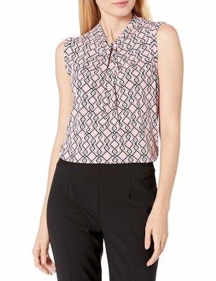 Tommy Hilfiger Women's Printed Knot Neck Sleeveless Knit Top