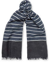 Begg & Co - Staffa Fringed Striped Cashmere and Silk-Blend Scarf
