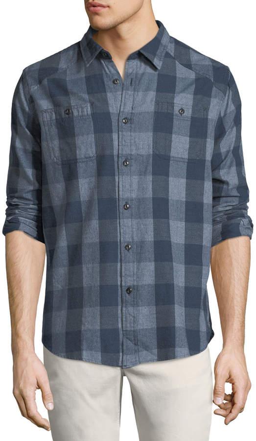 Jachs Ny Buffalo-Plaid Work Shirt, Navy