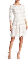 Eliza J 3/4 Sleeve Fit & Flare Lace Dress