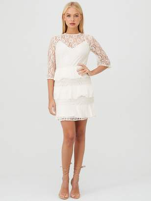 Little Mistress Lace Pleated Tiered Dress - Cream