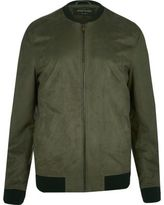 River Island Mens Green lightweight faux suede bomber jacket