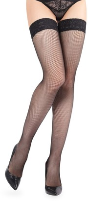Me Moi Lace-Trimmed Fishnet Stockings