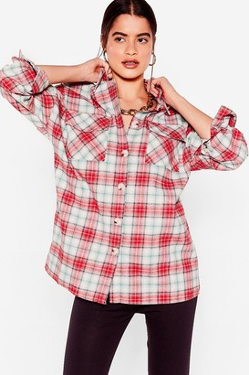 Nasty Gal Womens We'll Check Back Later Relaxed Shirt - Red