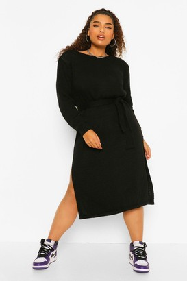 boohoo Plus Shoulderpad Knitted Sweater Dress