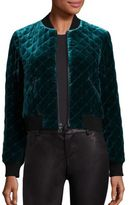 Alice + Olivia Demia Velvet Quilted Cropped Bomber Jacket