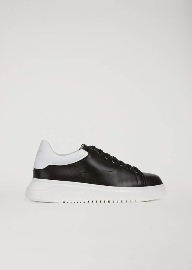 Emporio Armani Two-Tone Leather Trainers