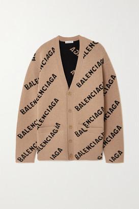 Balenciaga Intarsia Wool-blend Cardigan - Brown
