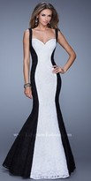 La Femme Contrasting Lace Panel Prom Dress