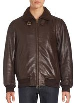 Vince Camuto Shearling-Trimmed Leather Long Sleeve Jacket