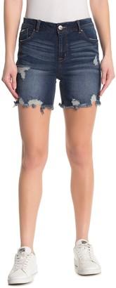 1822 Denim Decon Distressed Bermuda Biker Shorts