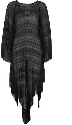 Missoni Mare Black metallic-weave zigzag-knit kaftan