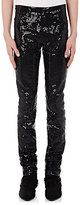Saint Laurent Men's Sequin-Embellished Mid-Rise Skinny Jeans-BLACK