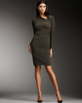 Jersey Asymmetric-Neck Dress
