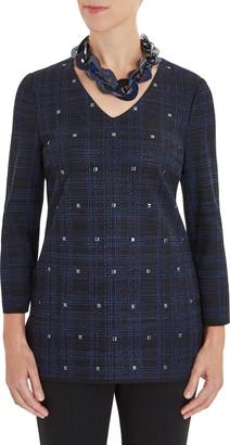 Misook Square Stud Detail Plaid Knit Tunic