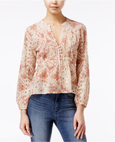 American Rag Sheer Printed Crochet-Trim Pintucked Blouse, Only at Macy's