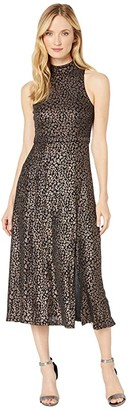 Donna Morgan Foil Printed Animal Stretch Knit Sleeveless Mock Neck Slitted Dress (Black) Women's Dress