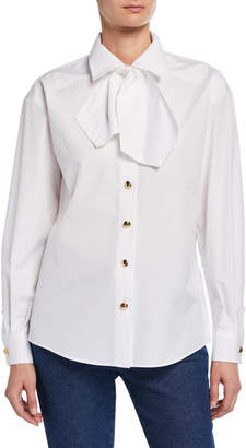 Escada Bow Neck Button-Front Cotton Blouse