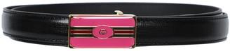 Gucci Azalea Leather Logo Belt Black / Pink