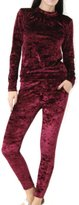 R Kon New Women Ladies Velvet Velour Crushed 2pc Jogging Top Loungewear Tracksuit