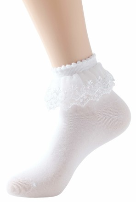 SRYL Women Ankle Socks Lace Ruffle Frilly Cotton Socks Trim Double Layer Lace Princess Socks Dress Socks H08 - - One Size