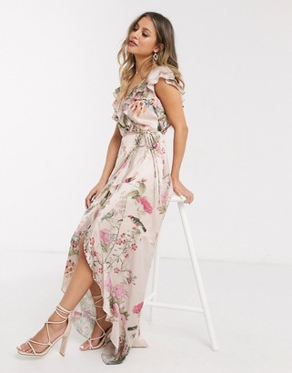 Lipsy x Abbey Clancy wrap front ruffle midi dress in pink floral print