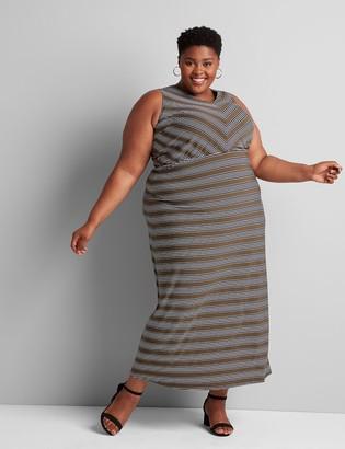 Lane Bryant Striped V-Neck Maxi Dress