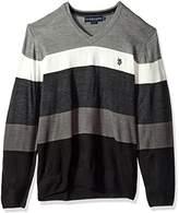 U.S. Polo Assn. Men's All Over Striped V-Neck Sweater
