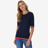 Nautica Short Sleeve Tipped Sweater
