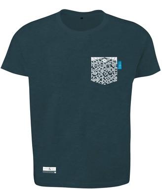 Anchor & Crew Steel Blue Digit Print Organic Cotton T-Shirt Mens