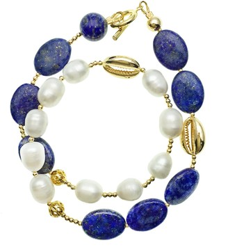 Farra Natural Lapis With Freshwater Pearls Double Wrapped Bracelet