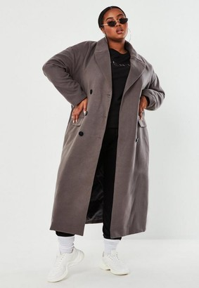 Missguided Plus Size Gray Double Breasted Maxi Coat