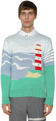Thom Browne LIGHT HOUSE & SEA KNIT COTTON SWEATER