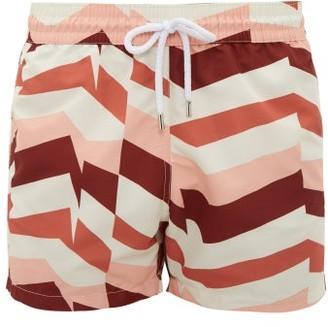 Frescobol Carioca Geometric Stripe-print Swim Shorts - Cream Multi